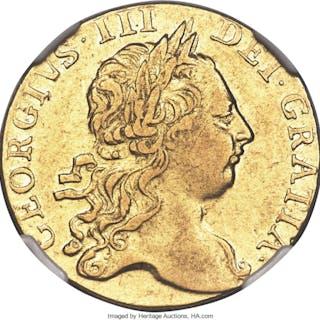 George III gold Guinea 1765 XF40 NGC,...