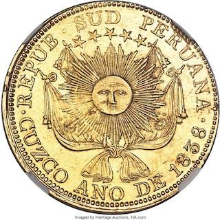 South Peru. Republic gold 8 Escudos 1838 CUZCO-MS AU58 NGC,...