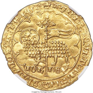 Jean II le Bon gold Mouton d'or ND (1350-1364) UNC Details (Cleaned) NGC,...
