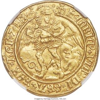 Henry VIII (1509-1547) gold Angel ND (1509-1526) AU Details (Graffiti) NGC,...