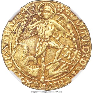 Edward IV (2nd Reign, 1471-1483) gold Angel ND (1480-1483) XF45 NGC,...