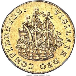Holland. Provincial gold 6 Stuivers (1/2 Gulden) 1764 AU58 NGC,...