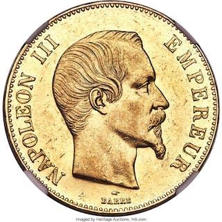 Napoleon III gold 100 Francs 1857-A AU58 NGC,...