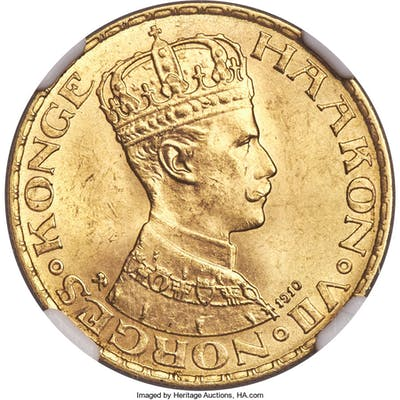 Haakon VII gold 20 Kroner 1910 MS64 NGC,...