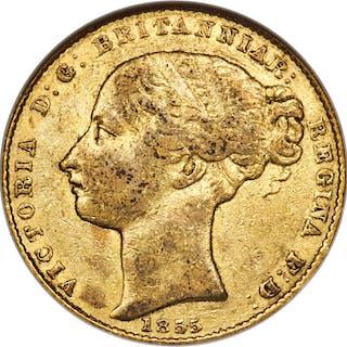 Victoria gold Sovereign 1855-SYDNEY VF30 NGC,...