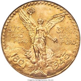 Estados Unidos gold 50 Pesos 1943 MS66 NGC,...