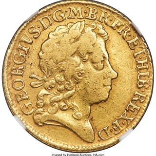 George I gold Guinea 1722 VF Details (Cleaned) NGC,...