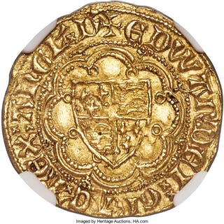 Edward III (1327-1377) gold 1/4 Noble ND (1361) AU55 NGC,...