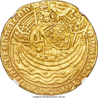 Edward III (1327-1377) gold Noble ND (1356-1361) VF Details (Plugged) NGC,...