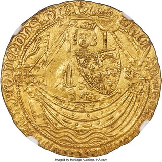 Richard II gold Noble ND (1377-1399) AU58 NGC, ...