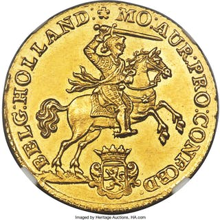 Holland. Provincial gold 14 Gulden (Gold Rider) 1751 MS62 NGC,...