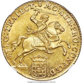 Utrecht. Provincial gold 14 Gulden (Gold Rider) 1763 MS63 NGC,...