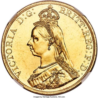 Victoria gold 5 Pounds 1887 UNC Details (Cleaned) NGC,...