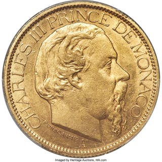 Charles III gold 100 Francs 1884-A MS62 PCGS,...