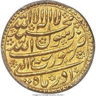 Mughal Empire. Shah Jahan gold Mohur Year 2 Month of Azar (1629/30)