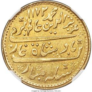 British India. Madras Presidency gold Mohur AH 1172 Year 6 (1817) MS62 NGC,...