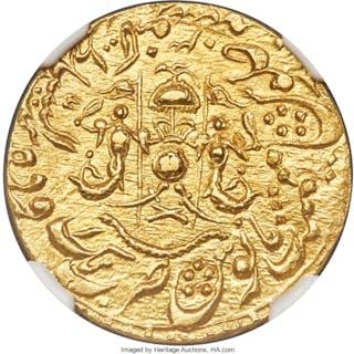 Awadh. Wajid Ali Shah gold Ashrafi (Mohur) AH 1266 Year 3 (1850) MS65 NGC,...