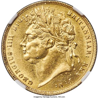 George IV gold Sovereign 1821 MS61 NGC,...