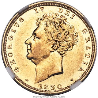 George IV gold Sovereign 1830 AU55 NGC,...