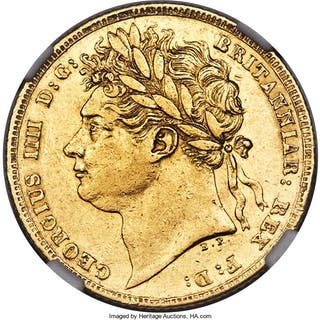 George IV gold Sovereign 1825 AU55 NGC,...