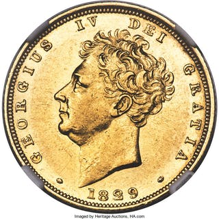 George IV gold Sovereign 1829 AU55 NGC,...