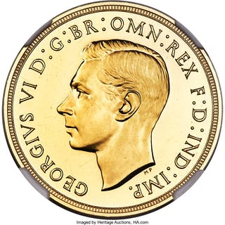 George VI gold Proof 2 Pounds 1937 PR64 Cameo NGC,...