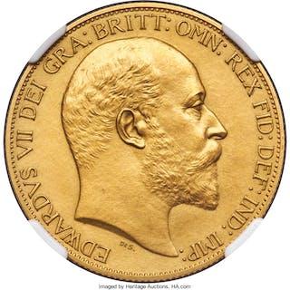 Edward VII gold Matte Proof 2 Pounds 1902 PR63 NGC,...