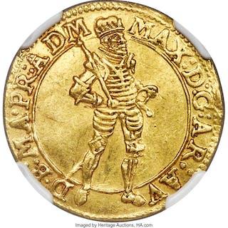 Teutonic Order. Maximilian III gold Ducat ND (1590-1618) AU58 NGC, ...