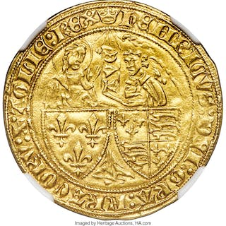 Anglo-Gallic. Henry VI gold Salut d'Or ND (1422-1461) AU58 NGC,...