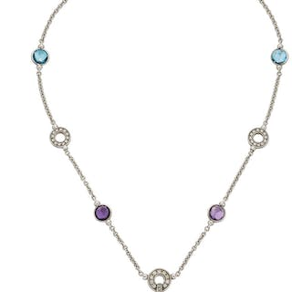 Multi-Stone, Diamond, White Gold Necklace, Bvlgari  ...