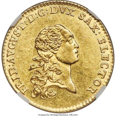 Saxony. Friedrich August III gold Ducat 1768-EDC MS62 NGC,...