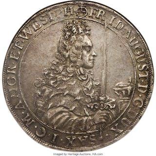 Saxony. Friedrich August I Taler 1696-IK AU50 NGC,...