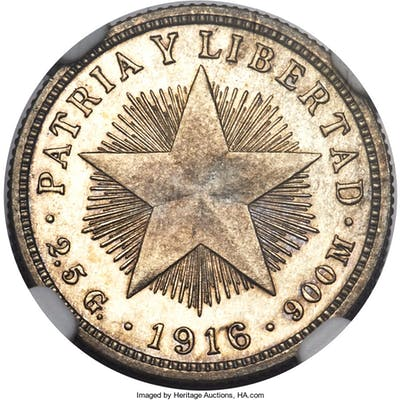 "Republic Proof ""Star"" 10 Centavos 1916 PR65 Cameo NGC,..."