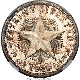 "Republic Proof ""Star"" 40 Centavos 1916 PR64 Cameo NGC,..."