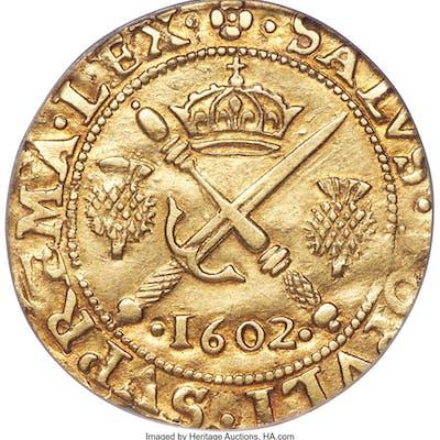 James VI (I) gold Sword & Scepter 1602 XF45 PCGS,...