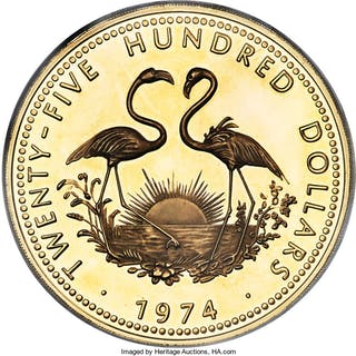 British Colony. Elizabeth II gold Proof 2500 Dollars 1974 PR61 Ultra