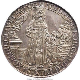 Saxony. Johann Georg II 2 Taler 1663-CR AU53 NGC,...