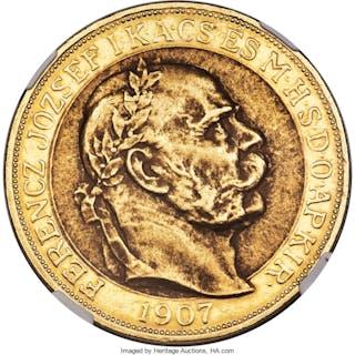 Franz Joseph I gold 100 Korona 1907-KB AU58 NGC,...