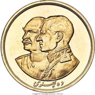Muhammad Reza Pahlavi gold 10 Pahlavi MS 2536 (1977) MS66 NGC,...