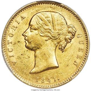 British India. Victoria gold Mohur 1841.-(c) (1850/1) AU58 PCGS,...