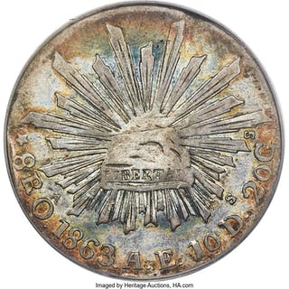 Republic 8 Reales 1863 Oa-AE VF25 PCGS,...