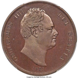 William IV bronzed Proof Penny 1831 PR65 PCGS,...