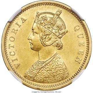 British India. Victoria gold Mohur 1862-(c) AU Details (Reverse Rim