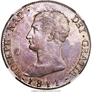 "Joseph Napoleon ""De Vellon"" 20 Reales 1811 M-AI MS63 NGC, ..."