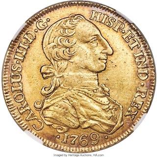 Charles III gold 8 Escudos 1769 NR-V XF45 NGC,...