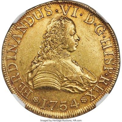 Ferdinand VI gold 8 Escudos 1754 So-J AU55 NGC,...