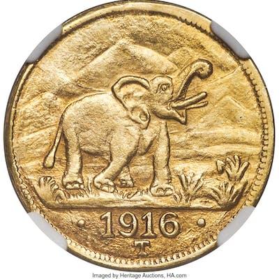 German Colony. Wilhelm II gold 15 Rupien 1916-T MS63 NGC,...