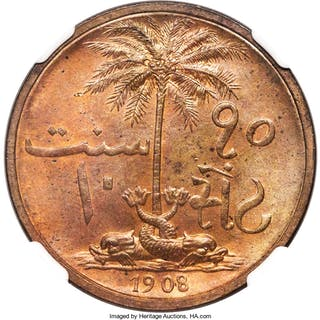 British Protectorate. Sultan Ali Bin Hamud 10 Cents 1908 MS63 Red