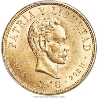 Republic gold 10 Pesos 1916 MS64 PCGS,...