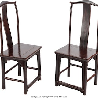 A Pair of Chinese Elmwood Side Chairs, 19th century 45 x 19-1/4 x